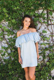 Chambray Denim Off The Shoulder Dress