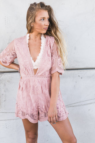 Make You Blush Deep V Lace Romper