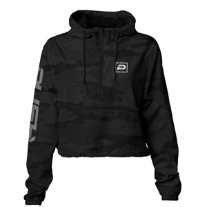 Women's Reflective Crop Windbreaker | Black Camo