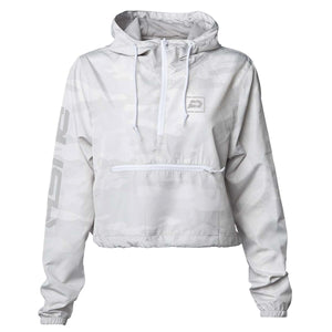 Women's Reflective Crop Windbreaker | White Camo