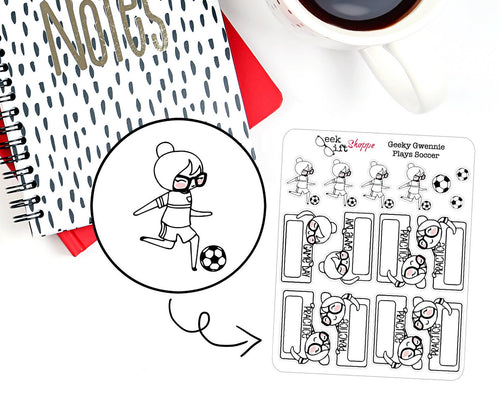 Geeky Gwennie Plays Soccer Planner Stickers
