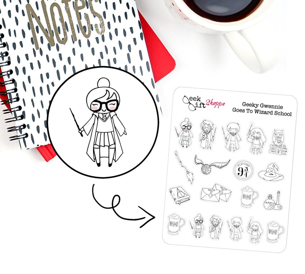 Geeky Gwennie Goes to Wizard School Planner Sticker / G011