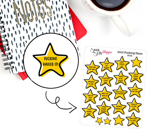 Adulting Gold Star Planner Sticker / F004