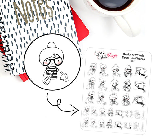 Geeky Gwennie Does Her Chores Planner Sticker / G017