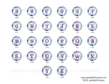 Blue and Purple Flower Alphabet Interchangeable Magnetic Pendant