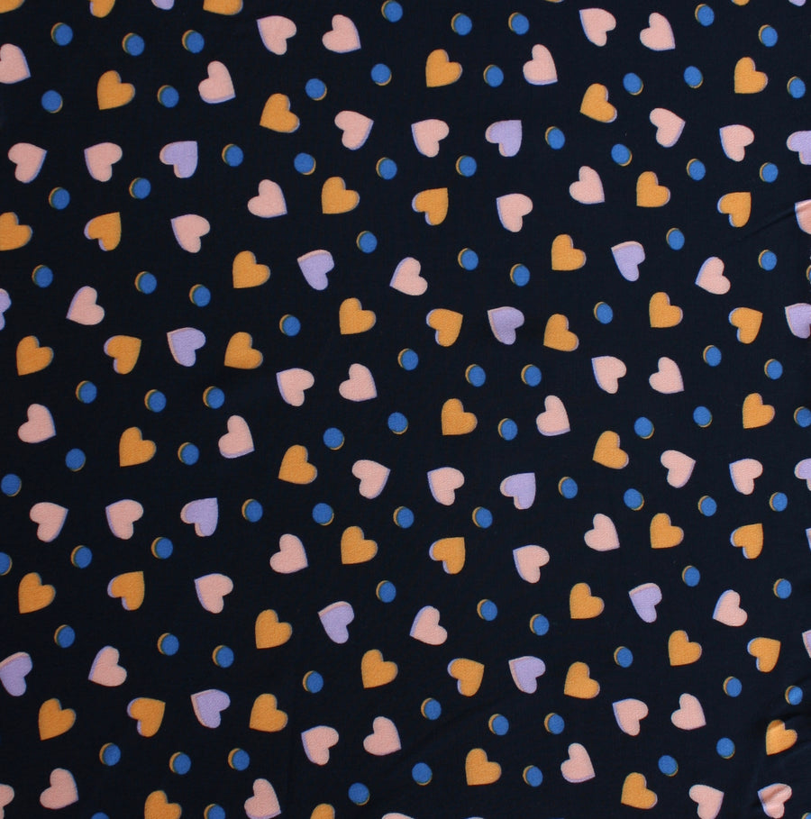 Multicolour Heart - Printed Viscose Crepe | Navy