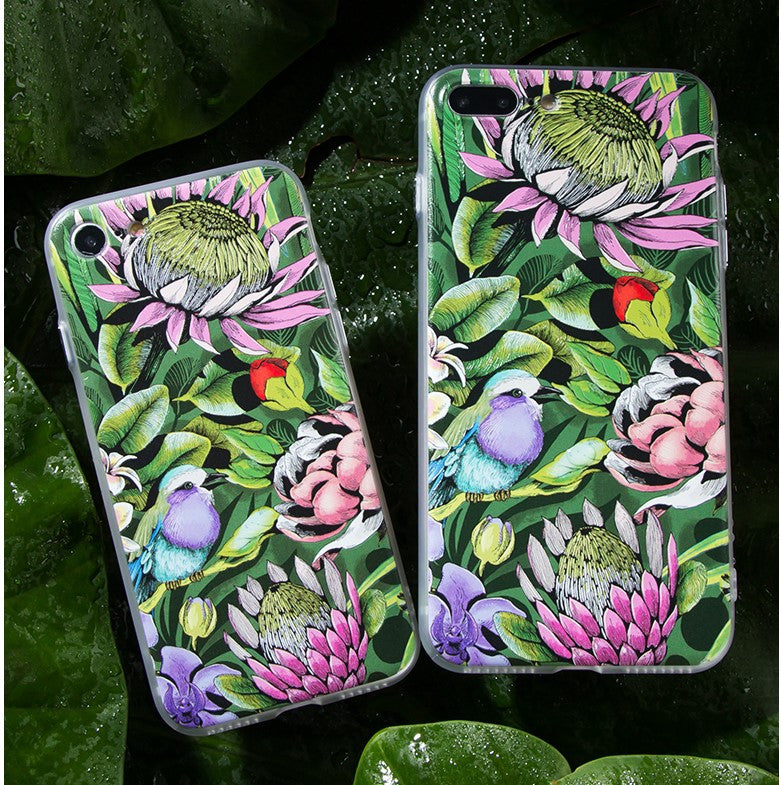 Leaves and Flowers with a Little Bird iPhone 7 case