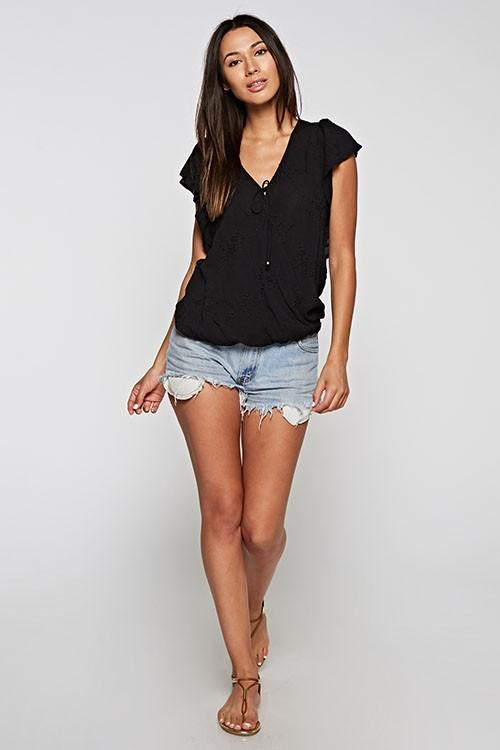 Love Stitch Women's Black cross front top with short ruffle sleeves