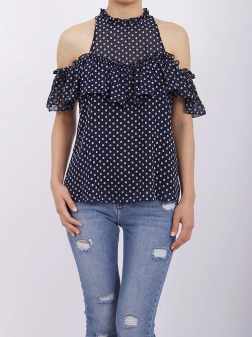 Current Air polka dot cold shoulder tank top with ruffled collar. FREE SHIPPING!!! 10% OFF YOUR FIRST ORDER!!  Let's change up the classic blouse with a little ruffled 'cold shoulder'. Flirty and Fun! $36! Boho Chic, Trendy Fashions For Women!