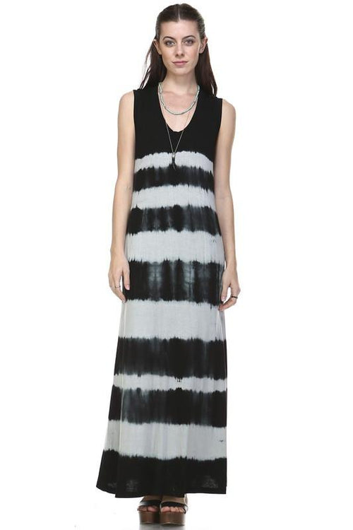 Black and White Women's Tie Dye Knit Summer Dress- Black and White Horizontal Tie Die, Ankle length maxi dress. Aster Ivory Stone. FREE SHIPPING!!! 30% Off SALE!! Every woman's wardrobe needs a go-to dress.  Perfect for beach, brunch, or a night out! $15! Boho Chic, Trendy Fashion for Women!