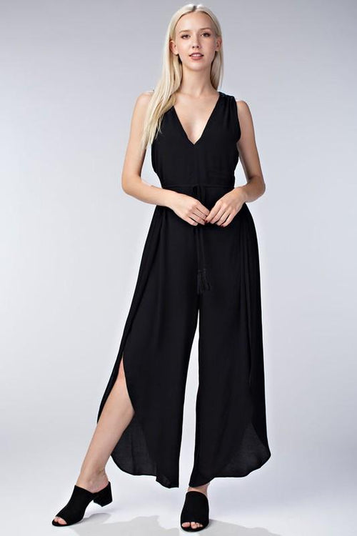 "HONEY BELLE Sleeveless V Neck Jumpsuit with Tassel Waist-30% Off Sale. 30% Off Sale on All "" Last Call "" Items! FREE SHIPPING! $29 We are OBSESSED with our HONEY BELLE Sleeveless V Neck Jumpsuit with Tassel Waist!! Sure to turn heads!$42! Boho Chic, Trendy Fashions For Women!"
