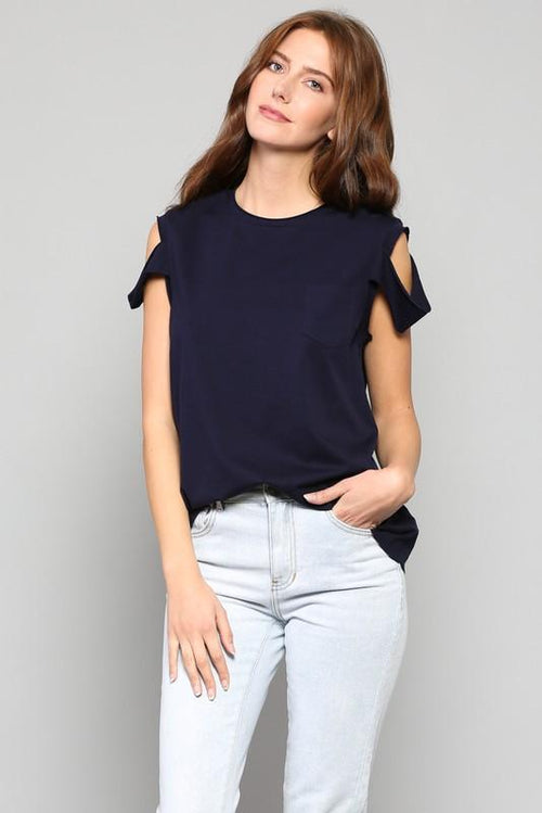 Fate Cold Shoulder Boxy Tee-Aster Ivory Stone. FREE SHIPPING! 10% OFF YOUR FIRST ORDER!! This comfy t-shirt with cold shoulders has real flirt appeal!! A Must have for any wardrobe! $15! Boho Chic, Trendy Fashion For Women!