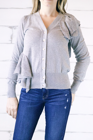 Grey Bohemian Wrap Front High Low Top