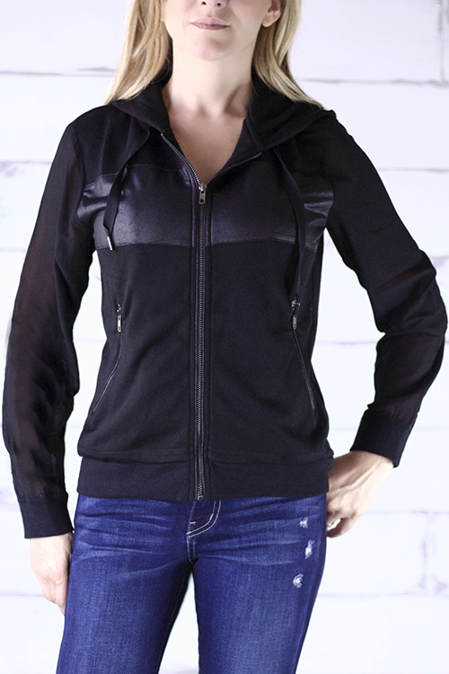 DANCE & MARVEL Woven Contrast Hoodie Jacket with Sheer Sleeves