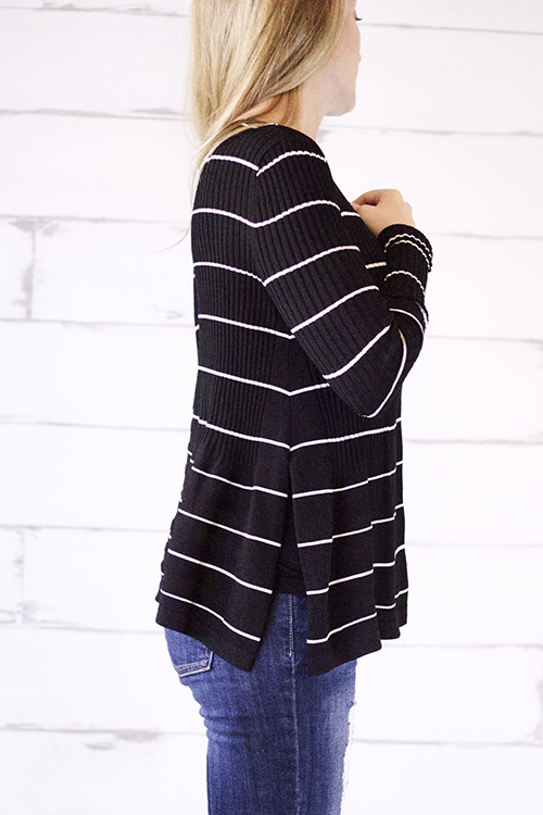 CURRENT AIR Striped Sweater with Side Slit
