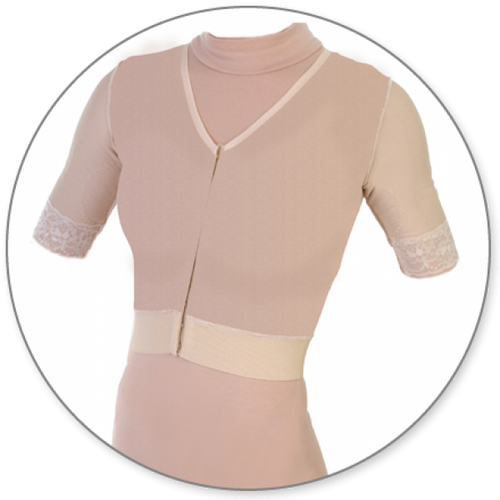 Contour MD Vest with Short Sleeves - Style 24VSS-Compression Vest with Sleeves-Contour MD-Beige-XS-PlasticSurgeryShop