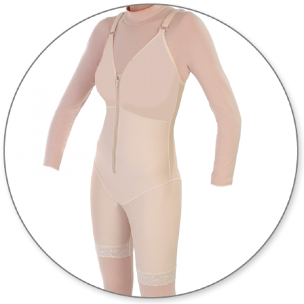 Contour MD Mid Thigh Body Shaper with Bra Top Slit Crotch - Style 27B-Mid Thigh Body Shaper-Contour MD-Beige-XS-PlasticSurgeryShop