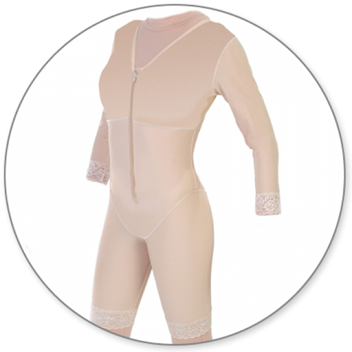 Contour MD Mid Thigh Body Shaper with Sleeves - Style 27S-Mid Thigh Body Shaper-Contour MD-Beige-XS-PlasticSurgeryShop