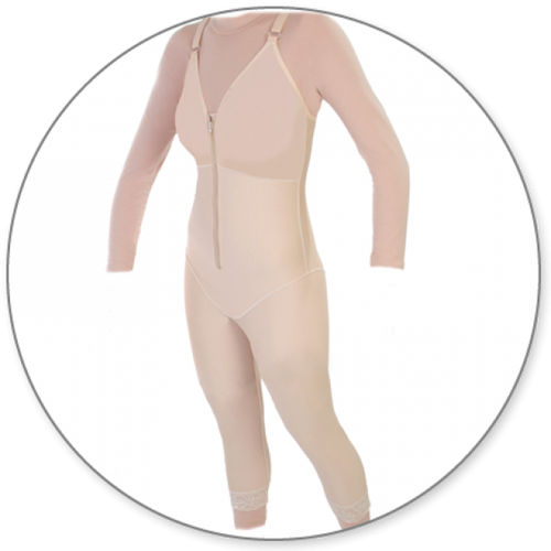 Contour MD Mid Calf Body Shaper with Bra Top - Style 28B-Mid Calf Body Shaper-Contour MD-Beige-XS-PlasticSurgeryShop