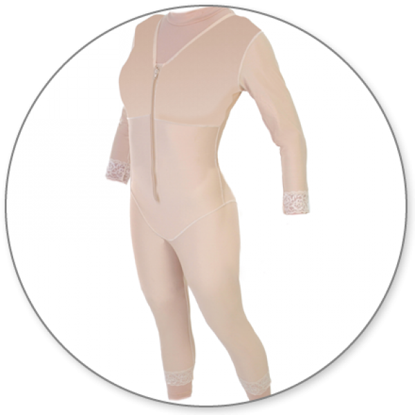 Contour MD Mid Calf Body Shaper With Sleeves - Style 28S-Mid Calf Body Shaper-Contour MD-Beige-XS-PlasticSurgeryShop