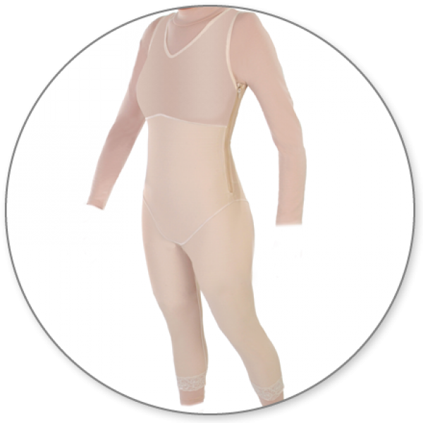 Contour MD Mid Calf Body Shaper Side Zippers - Style 28Z-Mid Calf Body Shaper-Contour MD-Beige-XS-PlasticSurgeryShop