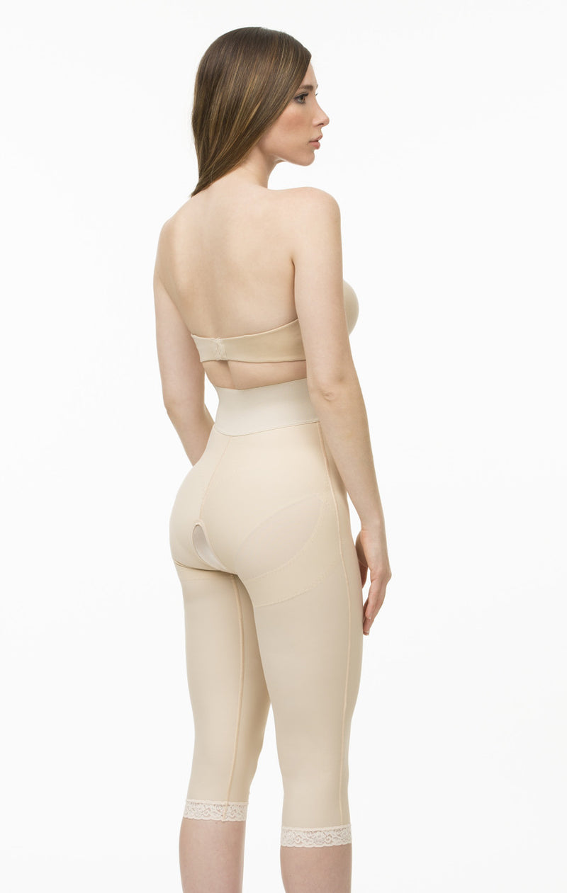 ISAVELA BELOW THE KNEE Closed Buttocks Enchancer Girdle Front Center Zipper Below The Knee Length Compression Garment (BE09-BK)