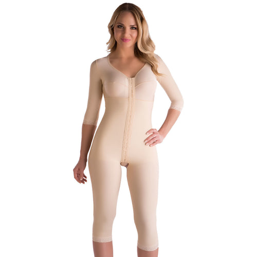 ISAVELA Full Body Suit With Bra And Sleeves Below Knee (BB09-BK)-Body Suit-Isavela-XS-Black-PlasticSurgeryShop