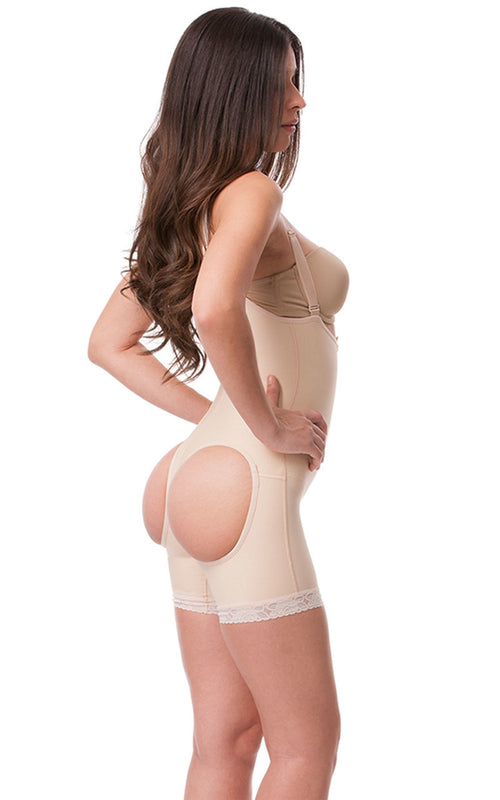ISAVELA Body Suit Mid Thigh Length W/Suspender Buttocks Enhancing Compression Girdle W/Zipper (BE05)