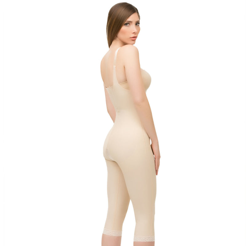 Body Suit Below The Knee W/Suspender Buttocks Enhancing Compression Girdle W/Zipper (BE05-BK)
