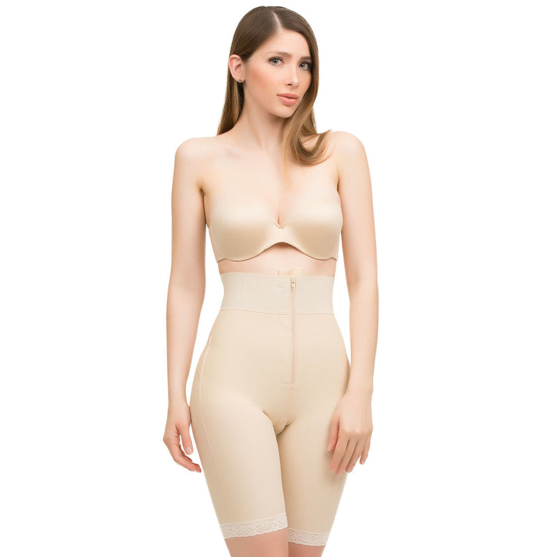 ISAVELA High Waist Mid Thigh Length Buttocks Enhancing Compression Girdle W/Zipper (BE09)