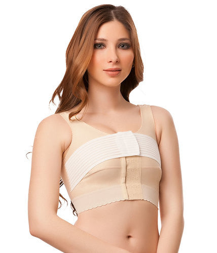 "ISAVELA Breast Surgery Support Bra W/ 2"" Elastic & 3"" Stabilizer Band (BR03)-Breast Surgery Support Bra-Isavela-XS-Beige-PlasticSurgeryShop"