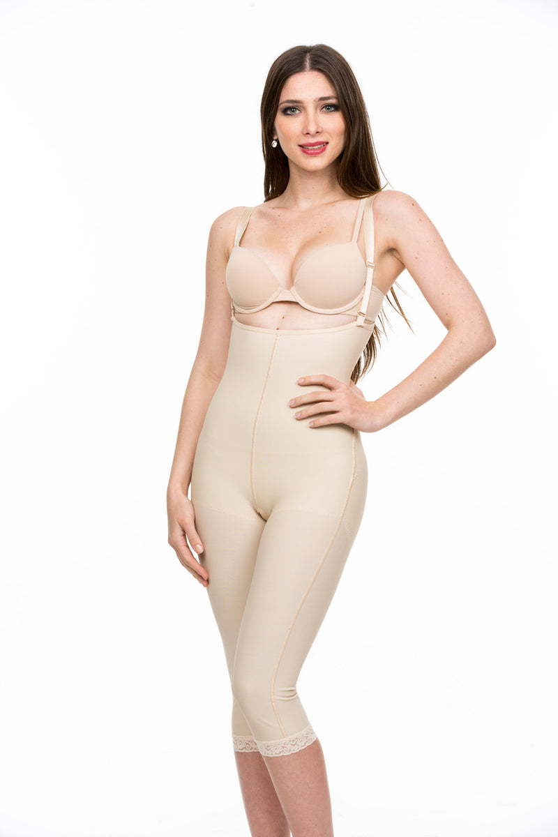 ISAVELA 2nd Stage Body Suit Below The Knee Length W/Suspender Closed Buttocks Enhancing Compression Girdle (BE08-BK)