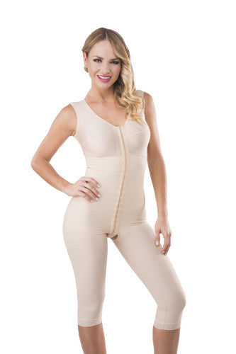 ISAVELA Full Body Suit Below The Knee No Sleeves Length Plastic Surgery Compression Garment W/Bra (BB09-BK-NS)*