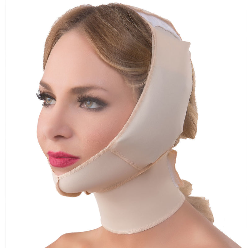 ISAVELA Chin Strap Support With Cold Pack Insert Pouches Compression Garment W/ Full Neck Support (FA04)