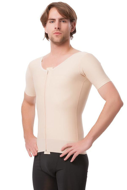 ISAVELA Male Short Sleeve Abdominal Cosmetic Surgery Compression Vest W/Zipper (MG06)