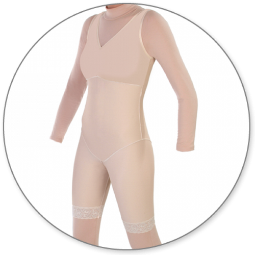 Contour MD Mid Thigh Body Shaper Without Zippers - Style 27NZ-Mid Thigh Body Shaper-Contour MD-Beige-XS-PlasticSurgeryShop