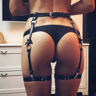 O Ring Bow Leather Garter Belt