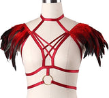 Exotic Feathered Cage Bra Harness Lingerie