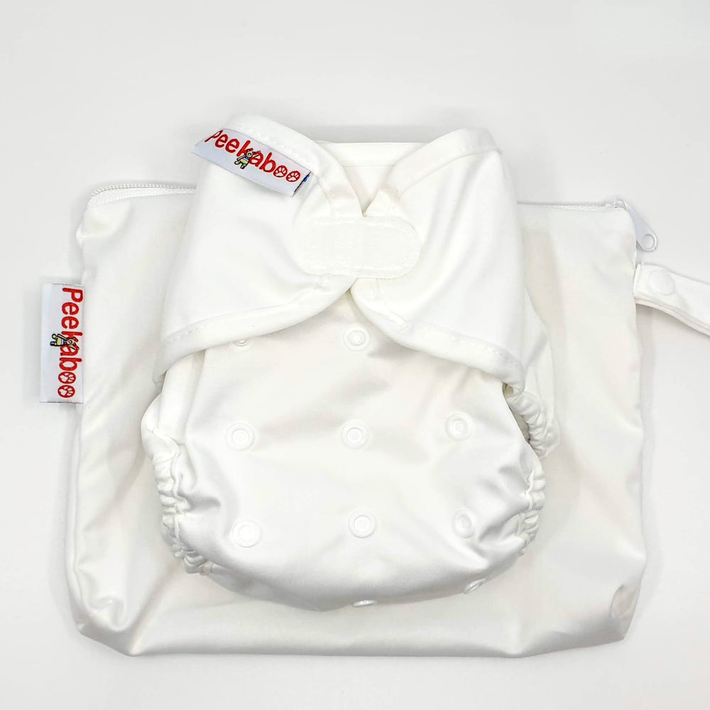 PEEKABOO 5 WHITE NAPPIES FOR $100