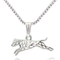 Leaping Pit Bull Pendant Necklace - 2 Colors to Choose From!
