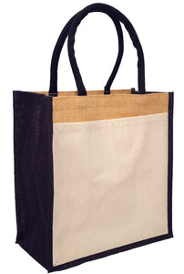 Hessian shopping bags with Black handles and gusset, and a cotton pocket on one side.