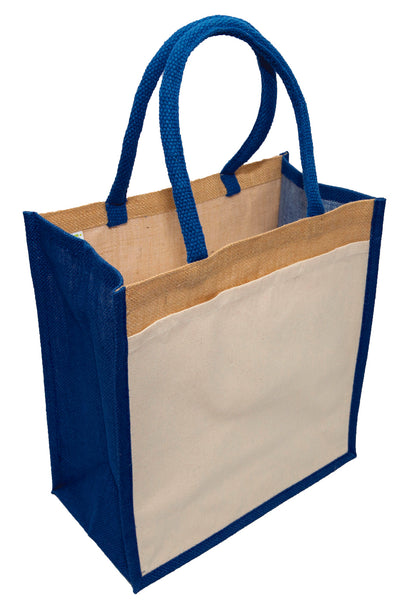 Hessian shopping bags with Blue handles and gusset, and a cotton pocket on one side.