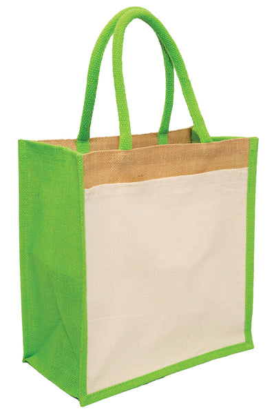 Hessian shopping bags with Lime handles and gusset, and a cotton pocket on one side.