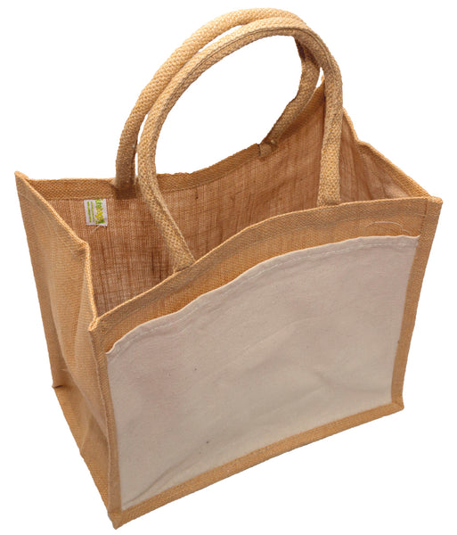 Hessian shopping bags with Natural handles and gusset, and a cotton pocket on one side.