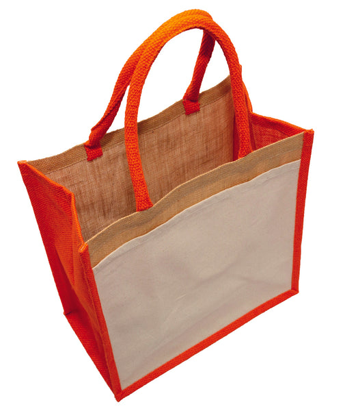Hessian shopping bags with Orange handles and gusset, and a cotton pocket on one side.