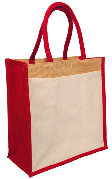 Hessian shopping bags with Red handles and gusset, and a cotton pocket on one side.