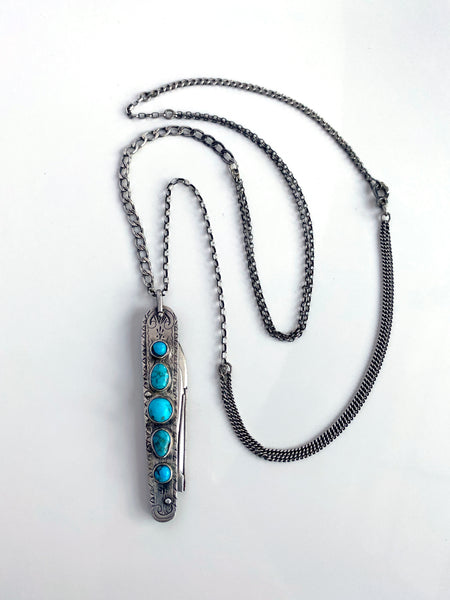 OOAK Victorian Fruit Knife Necklace with Turquoise