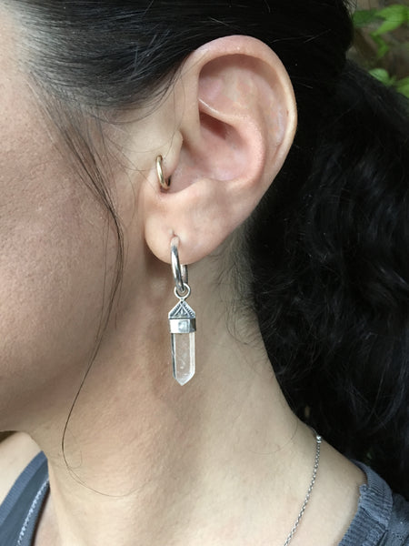 Mystic Mountain Quartz Hoops (4 pairs available)