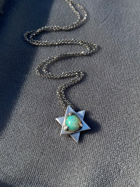 Opal Star of David Necklace 1