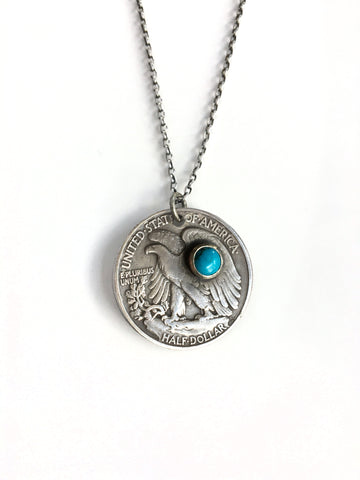 Walking Liberty Coin with Turquoise